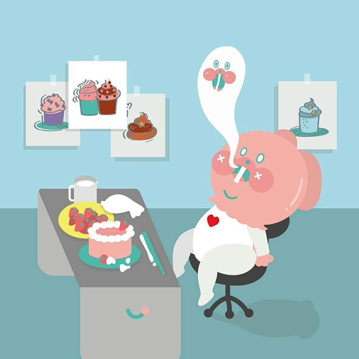 금요일 야근ㅠㅠ #illustration #drowning #插畫 #야근 #금요일밤  #uniquefamily #rabbit #garbi  #cake #character #dessert #lovecake