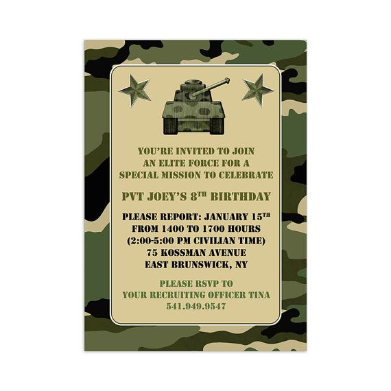 Camouflage /& Tanks PARTY DECOR Army Military Party Invitations Pack of 12 With Envelopes Single Page Perfect for This Special Occasion