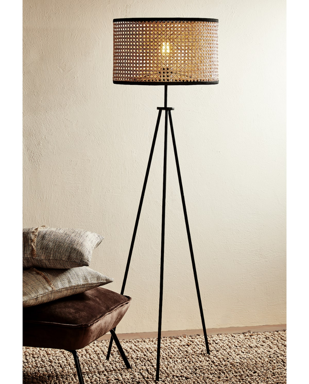 Zara Home Rattan Floor Lamp Standing Lamp Living Room Wicker Floor Lamp