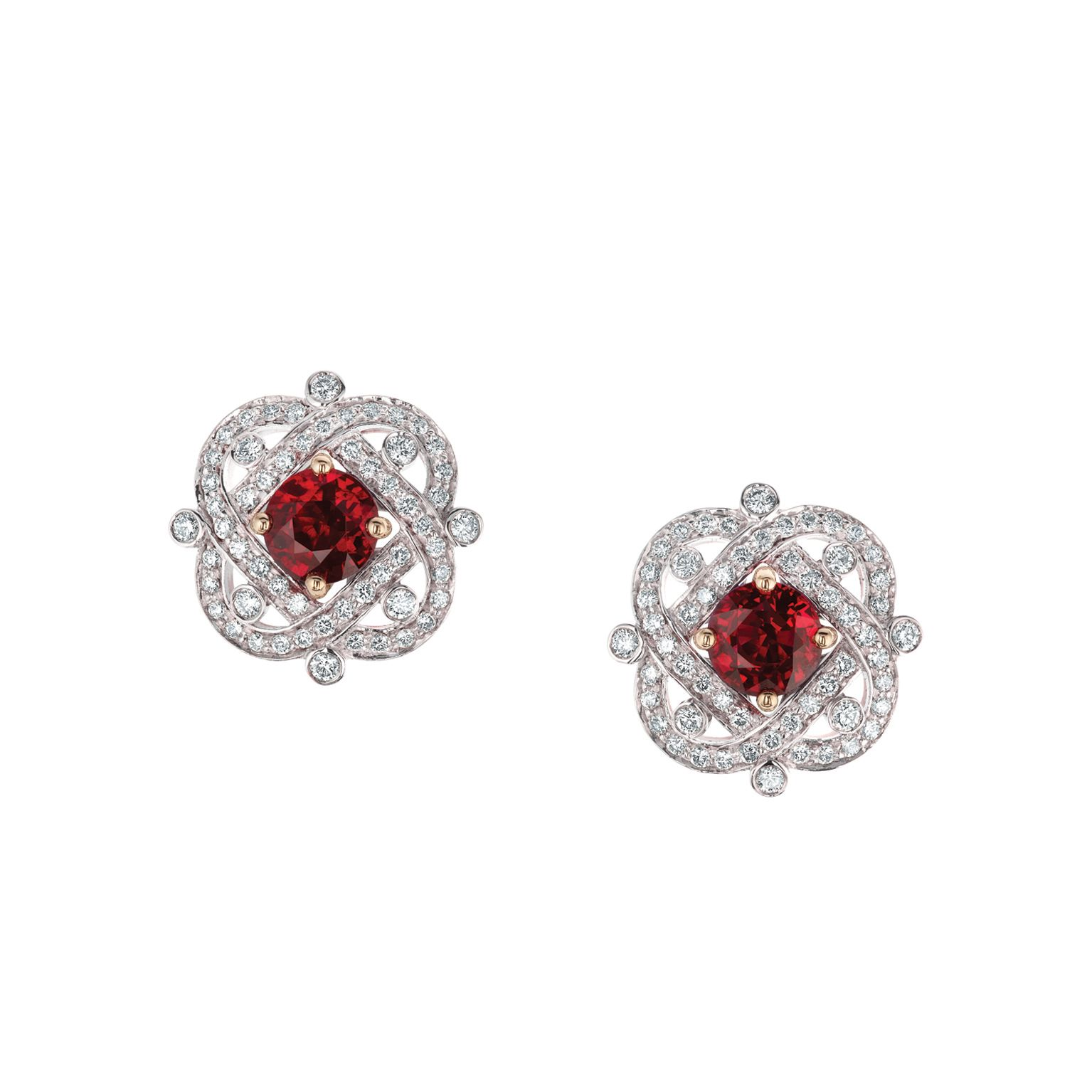 lab yellow stud martini gold earrings in ruby and diamond halo jewellery created