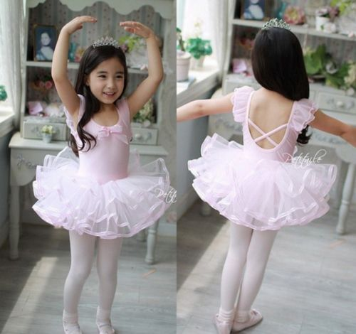 db0bd5b34 Girls Party Costume Ballet Tutu Dance Dress 3-8Y Kids Leotard ...
