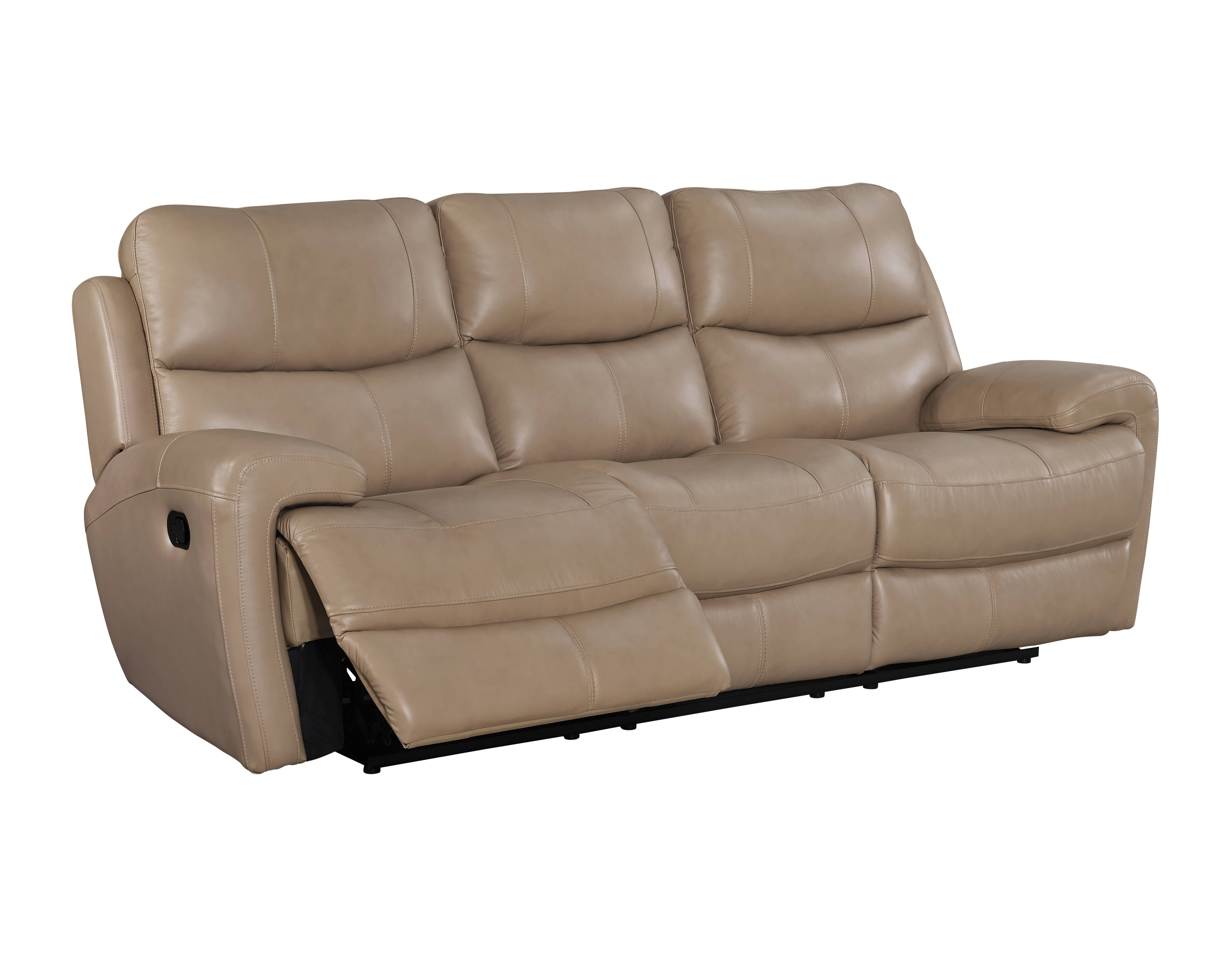 Boulevard Taupe Top Grain Leather Match Power Dual Recliner Sofa