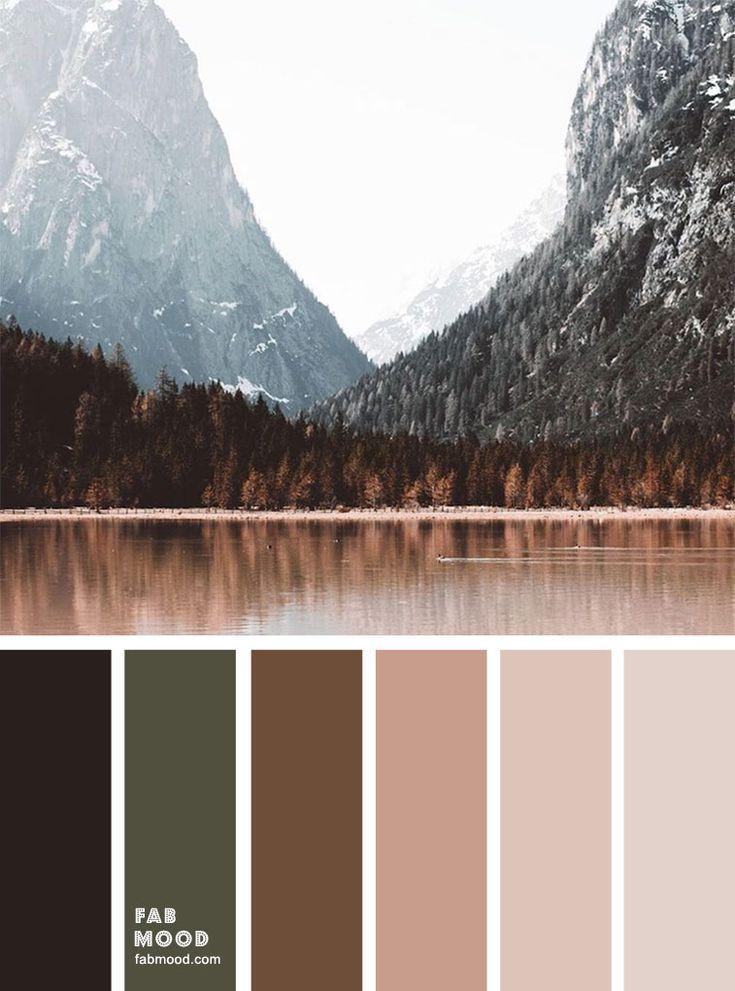 Winter Mood color palette : Dark pine green + brown + peach