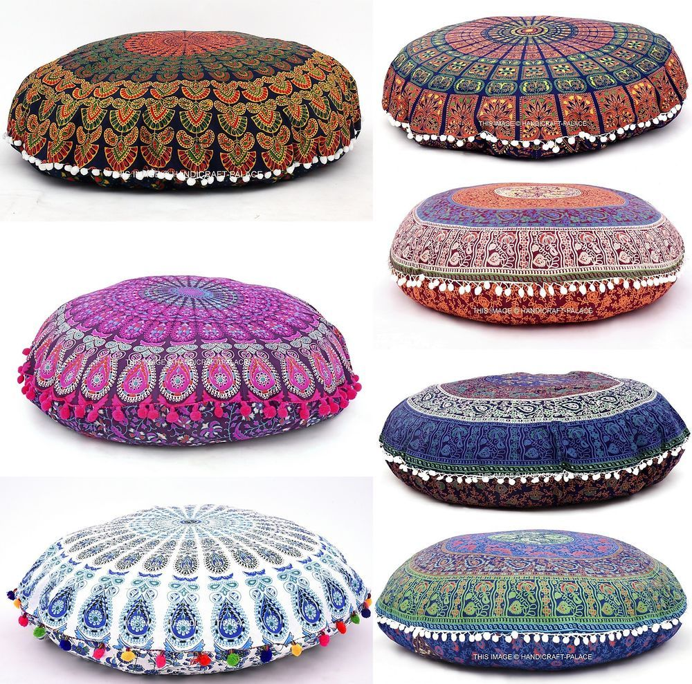 Large Round Mandala Meditation Floor Pillows Cover Indian Tapestry ...