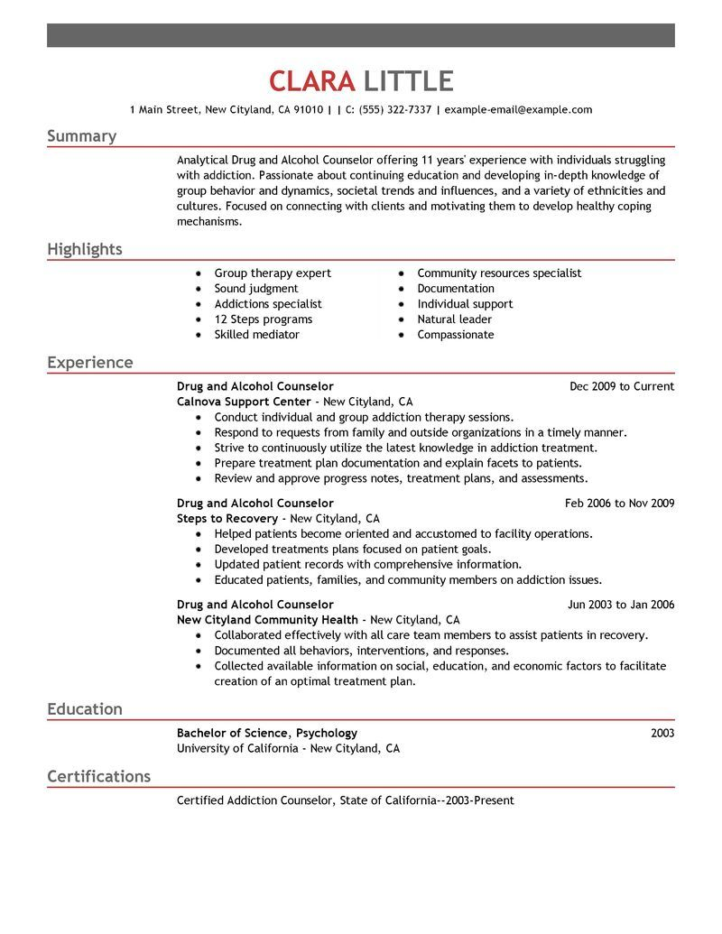 Big Drug And Alcohol Counselor Example Emphasis 1 Design Security Resume Resume Examples Resume