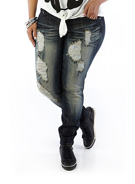 Ripped Up JEANS | Plus-Size Ripped-Up Skinny Jeans - Rainbow | My ...