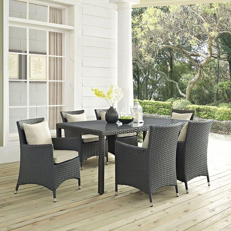 Modway Furniture Sojourn Beige 7pc Outdoor Sunbrella Dining Set