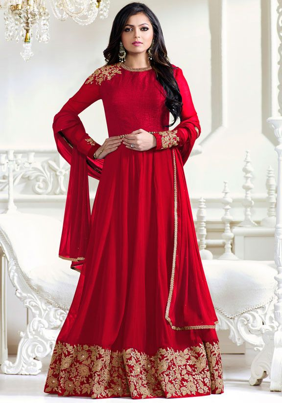 603c95e96f Drashti Dhami Red Floor Length Anarkali Suit | Anarkali Dresses ...