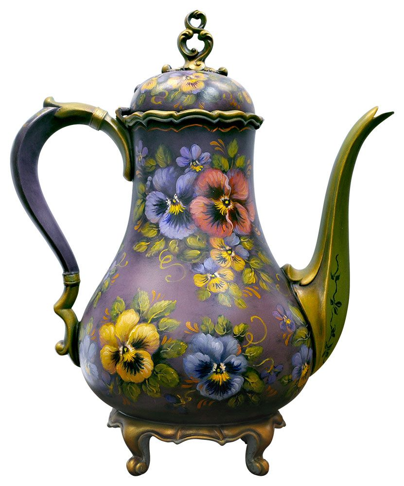 jo sonja used an old metal teapot and decorated it with pansies porzellan und keramik. Black Bedroom Furniture Sets. Home Design Ideas