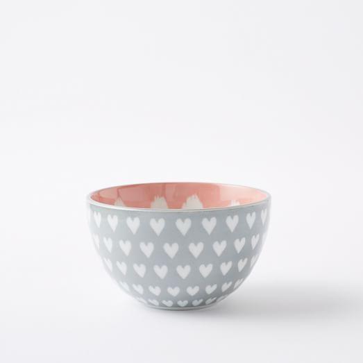 Pad Print Bowl, Small Hearts, Gray
