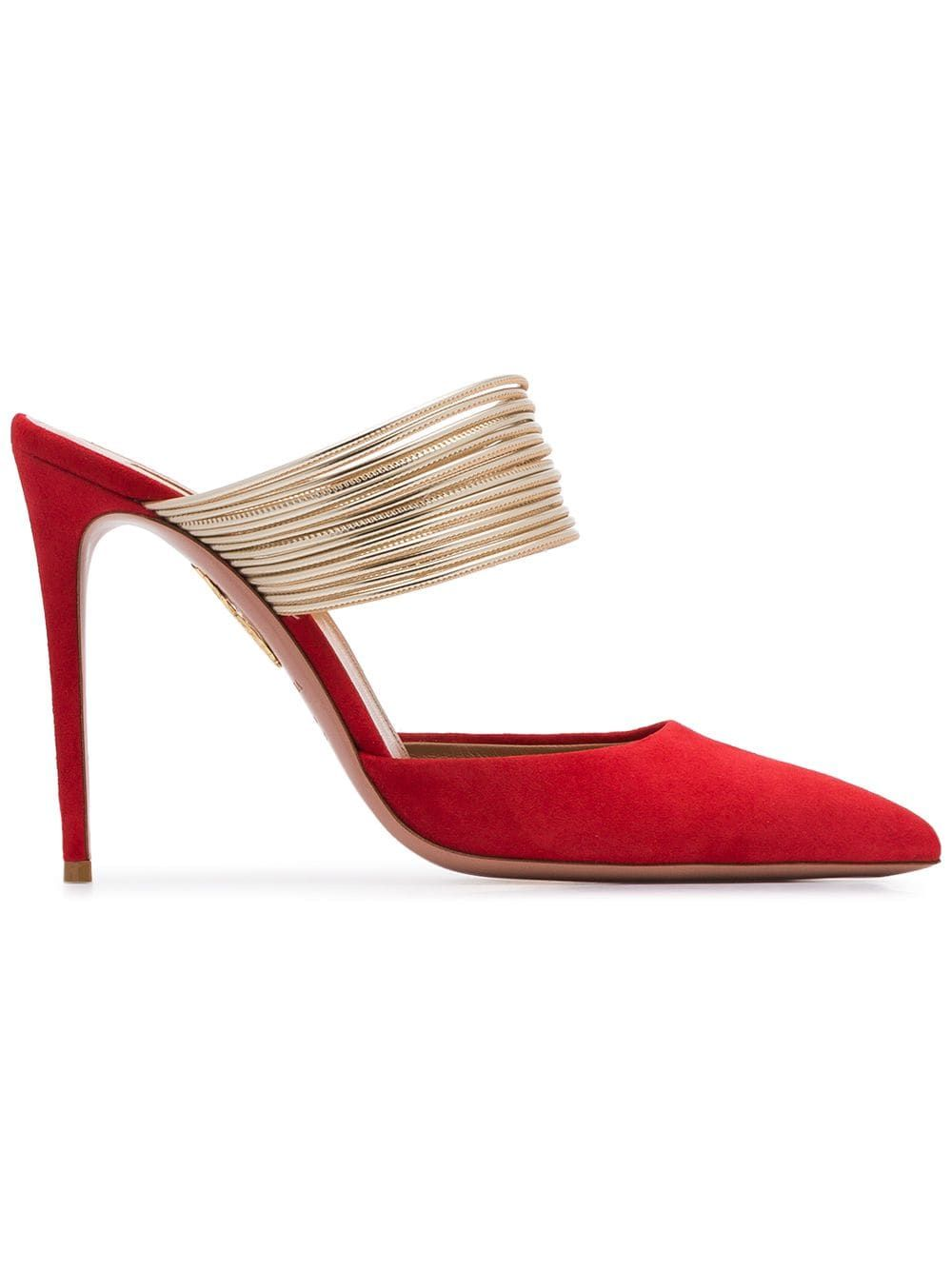 655e4831547 Aquazzura red new rendezvous 105 suede leather mules in 2019 ...