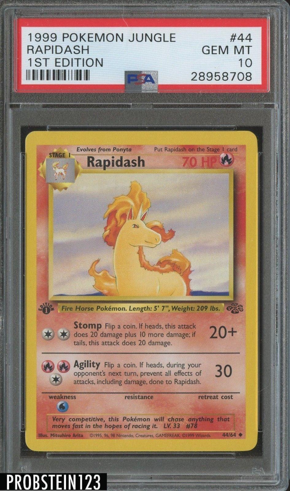 1999 pokemon jungle 1st edition 44 rapidash psa 10 gem