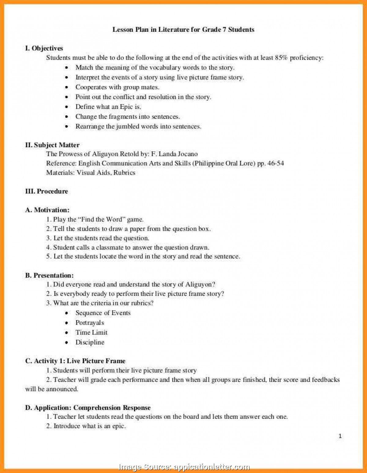 SAMPLE LESSON PLAN Lesson plan examples, English lesson