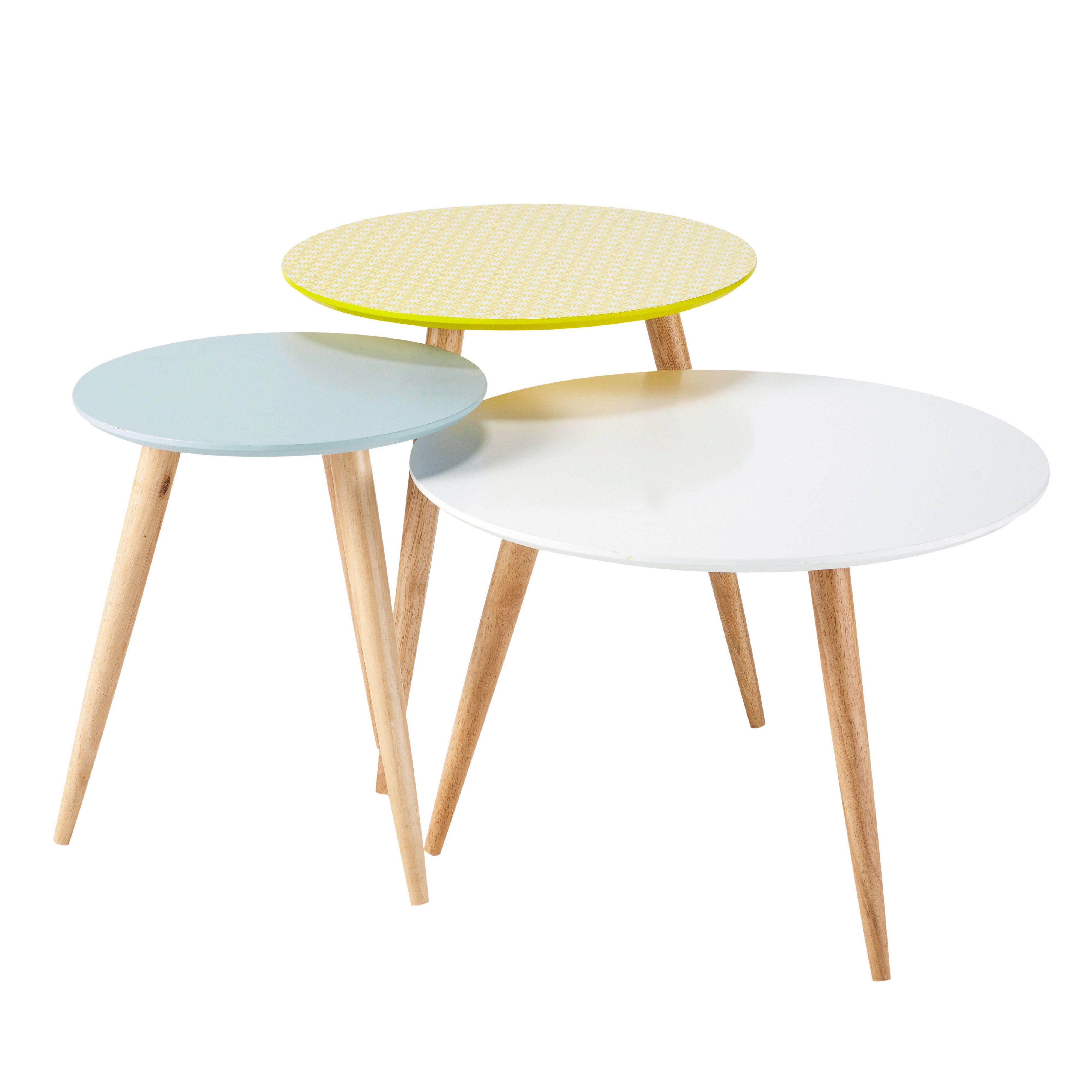 3 tables basses gigognes vintage multicolores l 40 cm à l 60 cm