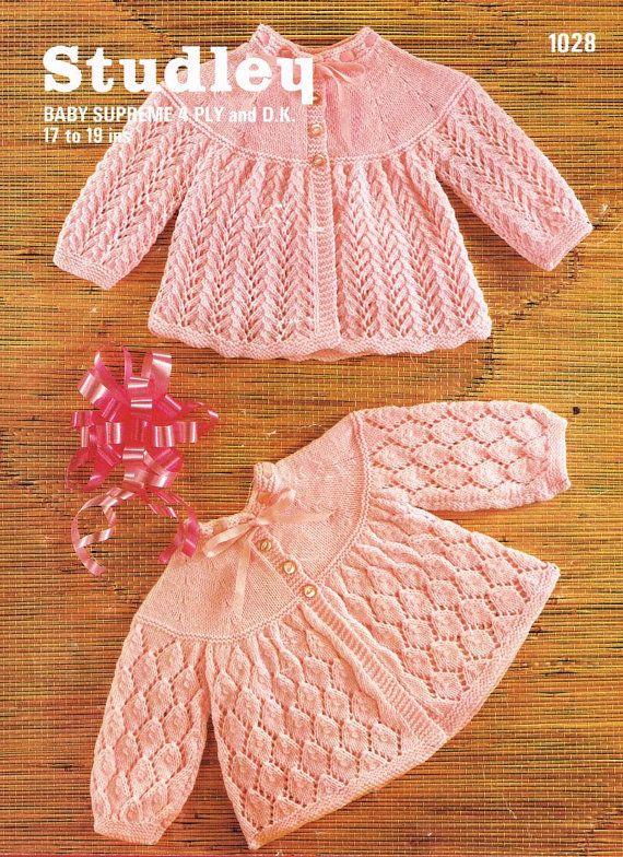 Vintage de abrigos de la matinee de Studley 1028 bebé punto PDF ...