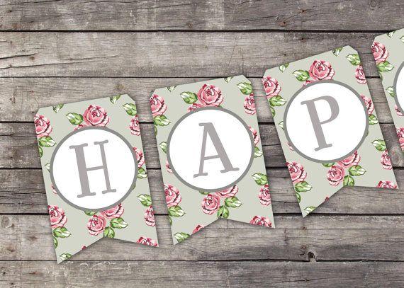 Printable Birthday Banner ~ Printable happy birthday banner vintage floral printable birthday