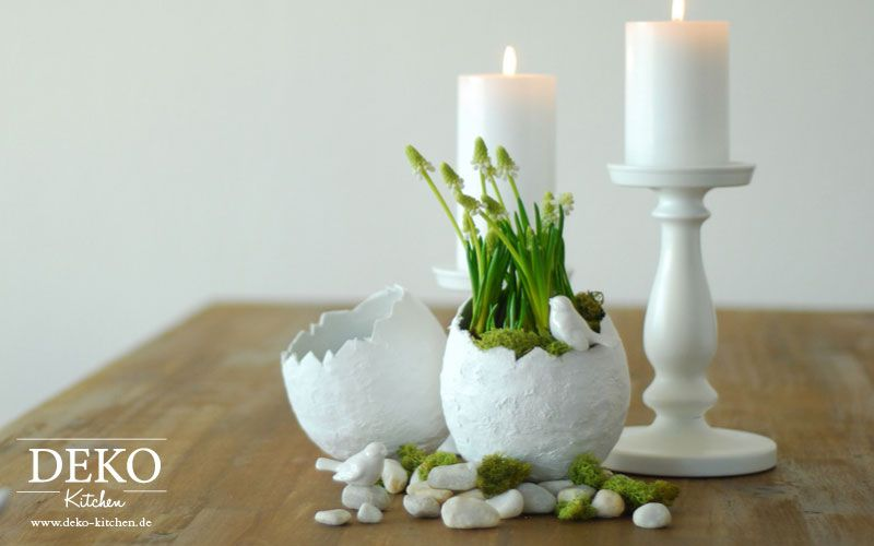 diy osterdeko mit deko vasen aus gipsbinden deko kitchen p ques pinterest easter happy. Black Bedroom Furniture Sets. Home Design Ideas