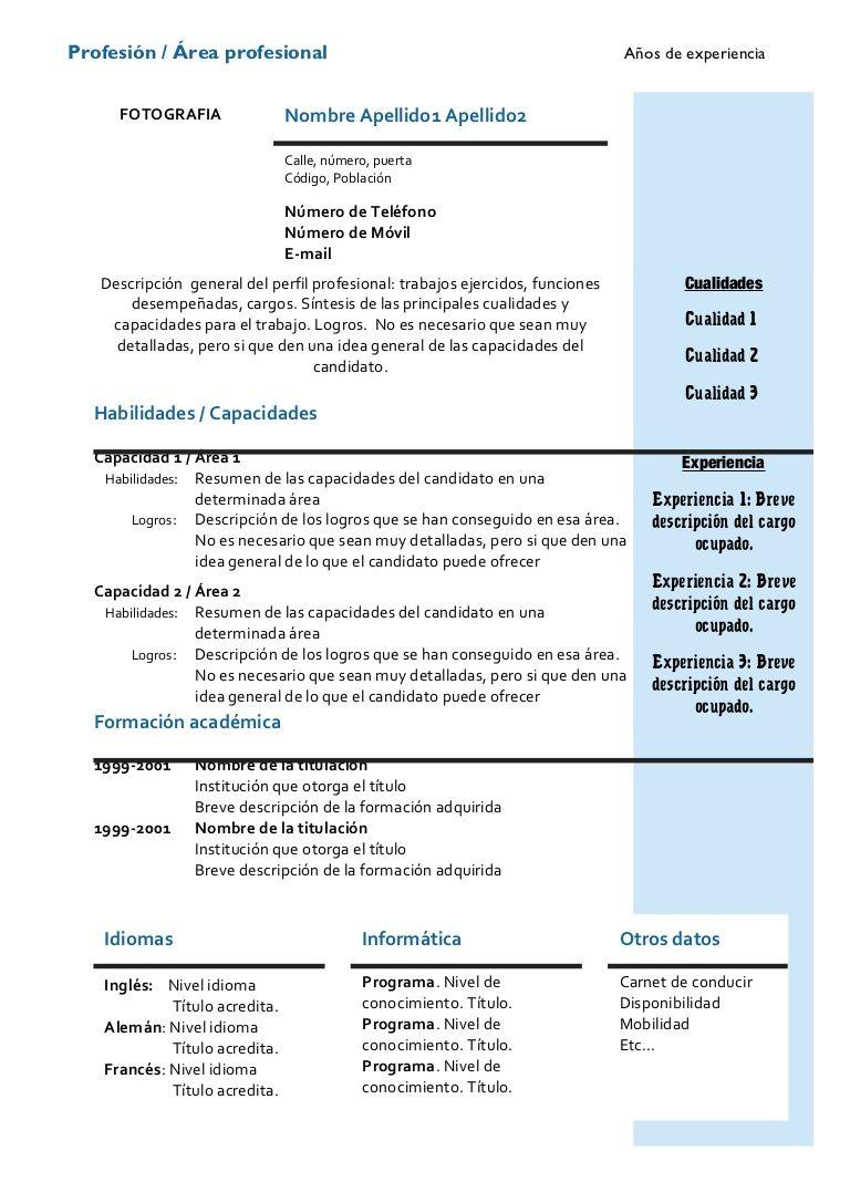 Europeo Doc Modelos de curriculum vitae, Ejemplos de