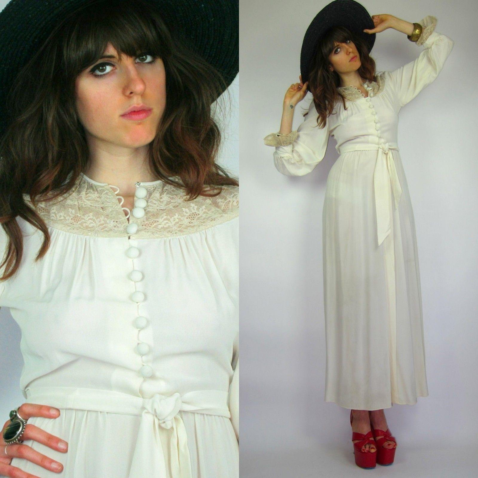 Vtg ss sheer cream off wht wedding draped maxi dress hippie