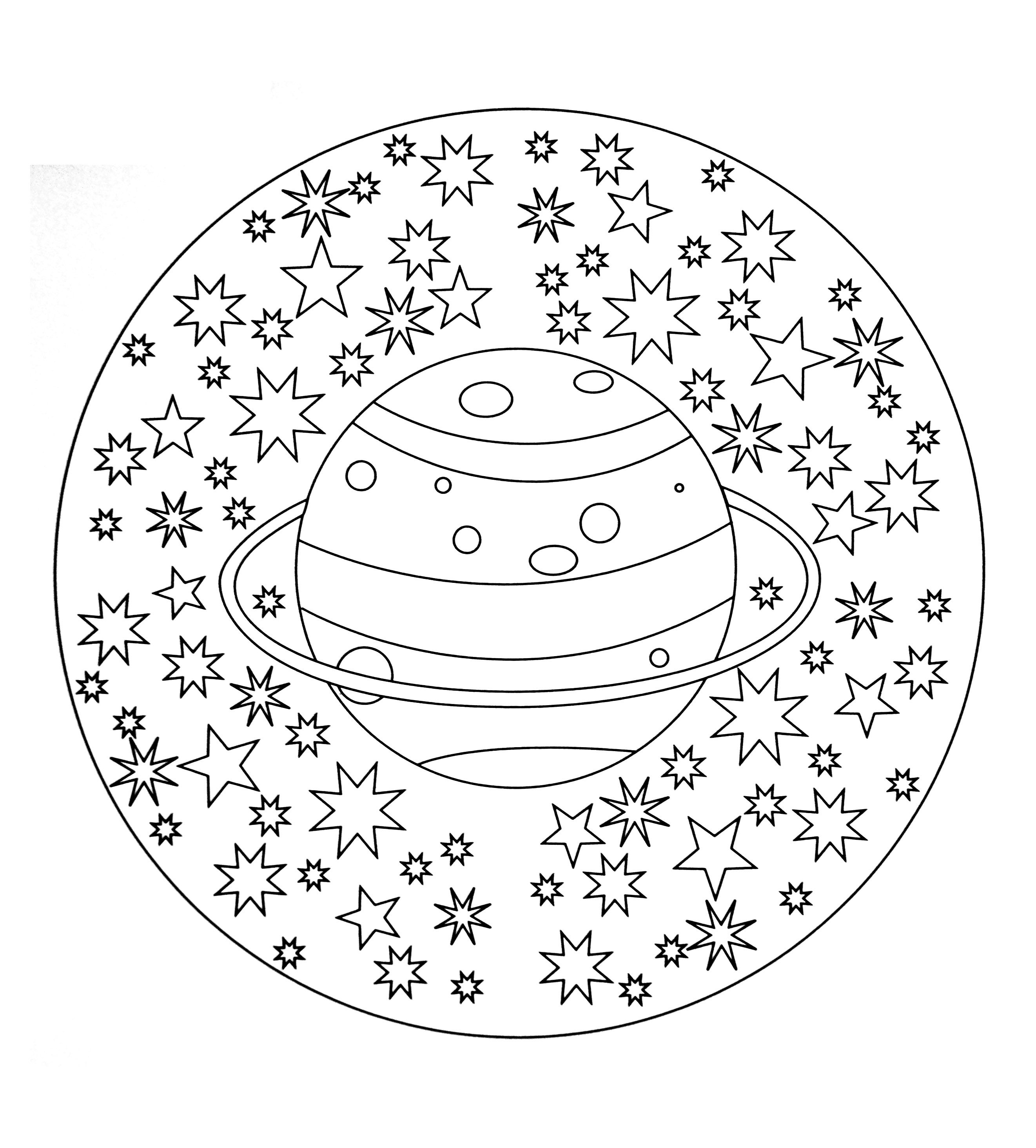 Free coloring page free mandala to color planet stars free