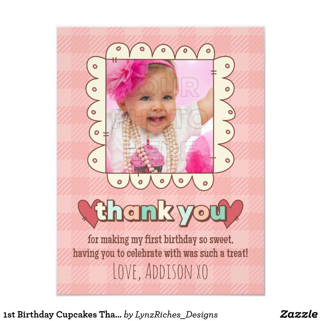 1st Birthday Cupcakes Thank You Card | Invitation cards | Pinterest ...