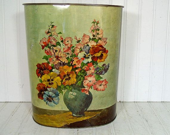 Full Color Floral Bouquet Brass Metal Waste Can