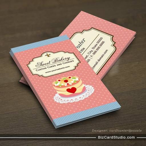 Custom Cakes And Cookies Dessert Bakery Store Business Card Template Bakery Business Cards Business Card Maker Cool Business Cards