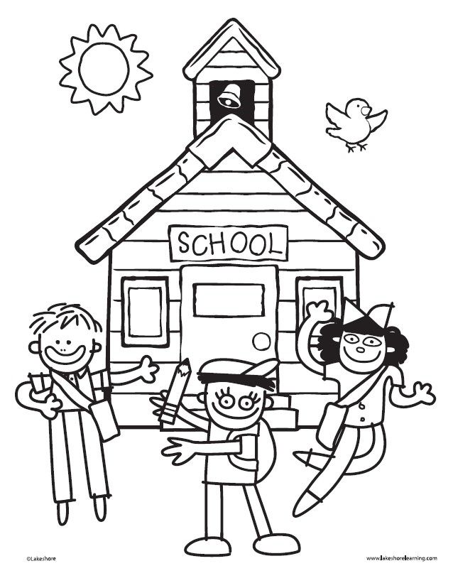 Schoolhouse Coloring Sheet from Lakeshore! Fun for the 1st