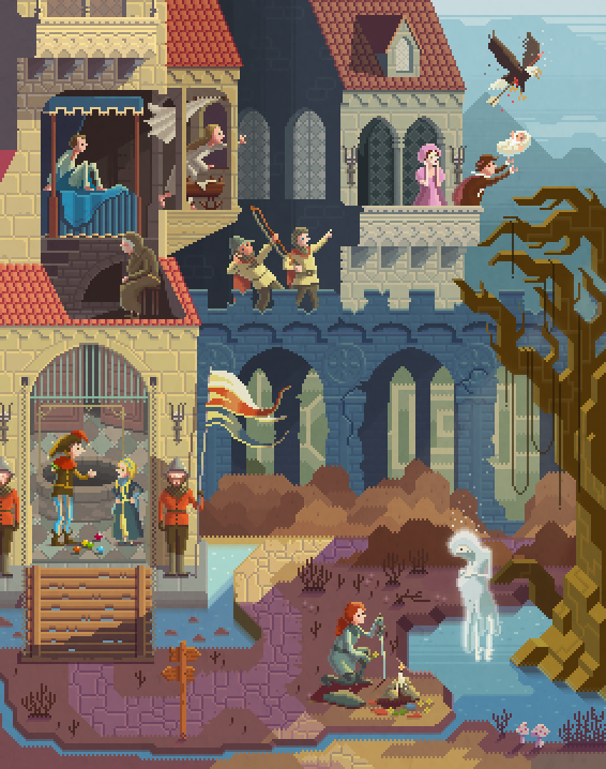 Scene #26: 'Crossroads'Pixel Art illustrations by Octavi Navarro. 2015.www.pixelshuh.com