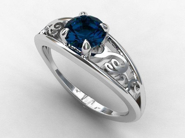 Mokume Blue Topaz Engagement Ring And Wedding Band Set 44