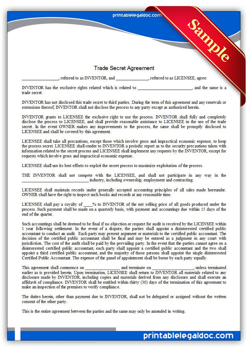 Printable Trade Secret Agreement Template  Printable Legal Forms