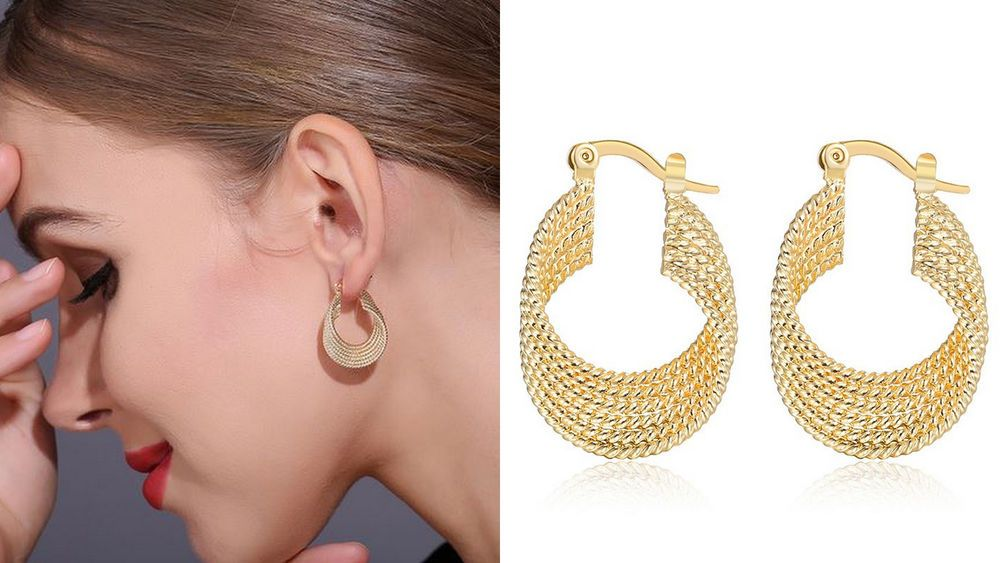 Las Womens New Small Twisted Gold Plated Hoops Fashion Circle Hoop Earrings