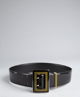 Prada: black and olive shined leather colorblock buckle belt