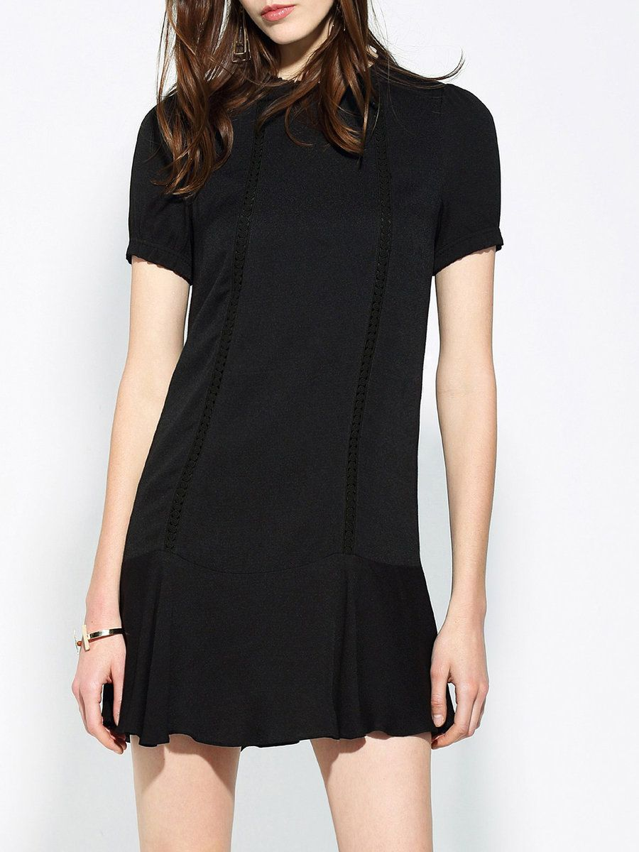 Shop Mini Dresses - Black Crew Neck Flounce Short Sleeve Mini Dress online. Discover unique designers fashion at StyleWe.com.