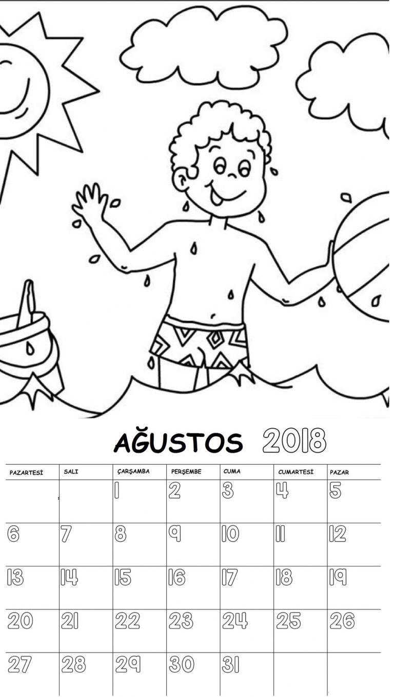 2018 Yılı Takvimi Boyama Sayfaları 12 Ay Elişleri Preschool