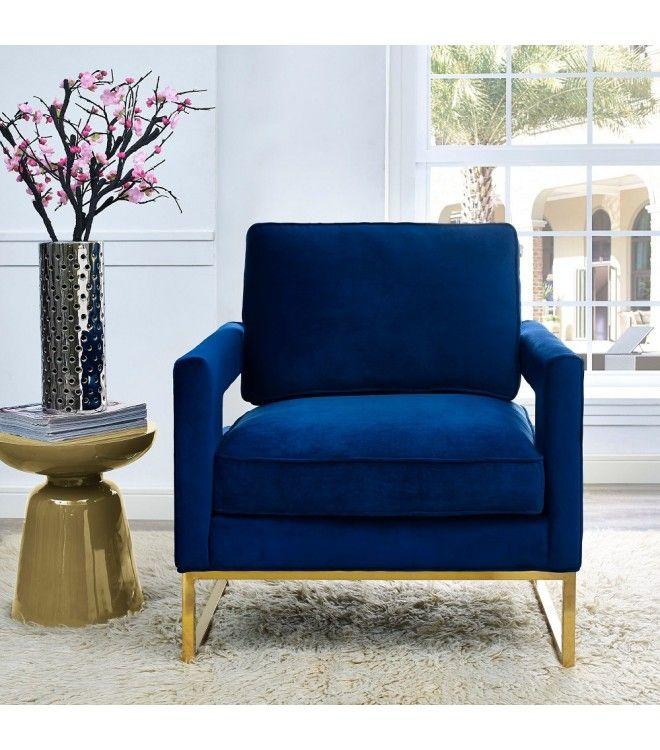 Modern Navy Blue Velvet Gold Legs Lounge Chair Blue