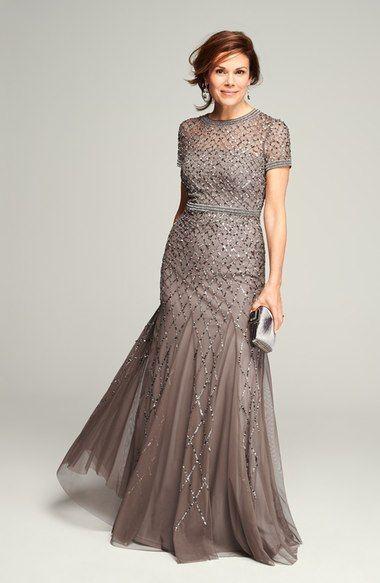 Adrianna Papell Beaded Mesh Gown (Regular & Petite) | Nordstrom