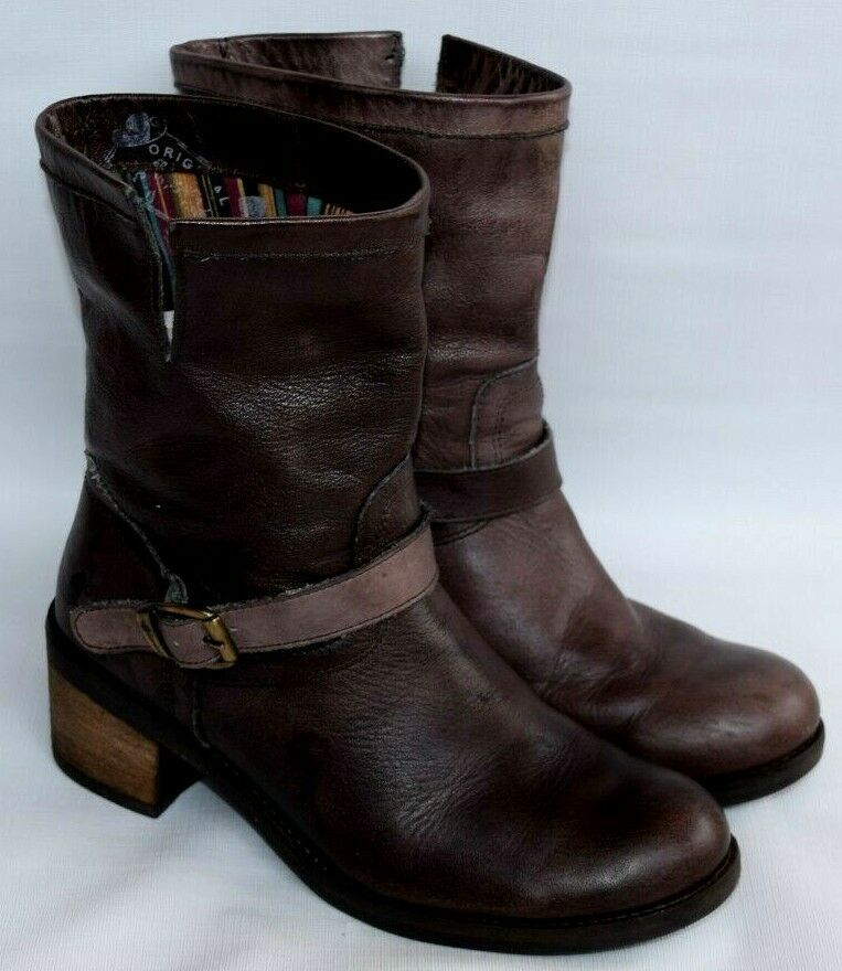 Forsale Felmini Brown Leather Mid Calf Pull On Boots Buckle Strap Womens 41 Us 10 Boots Lace Ankle Boots Pull On Boots