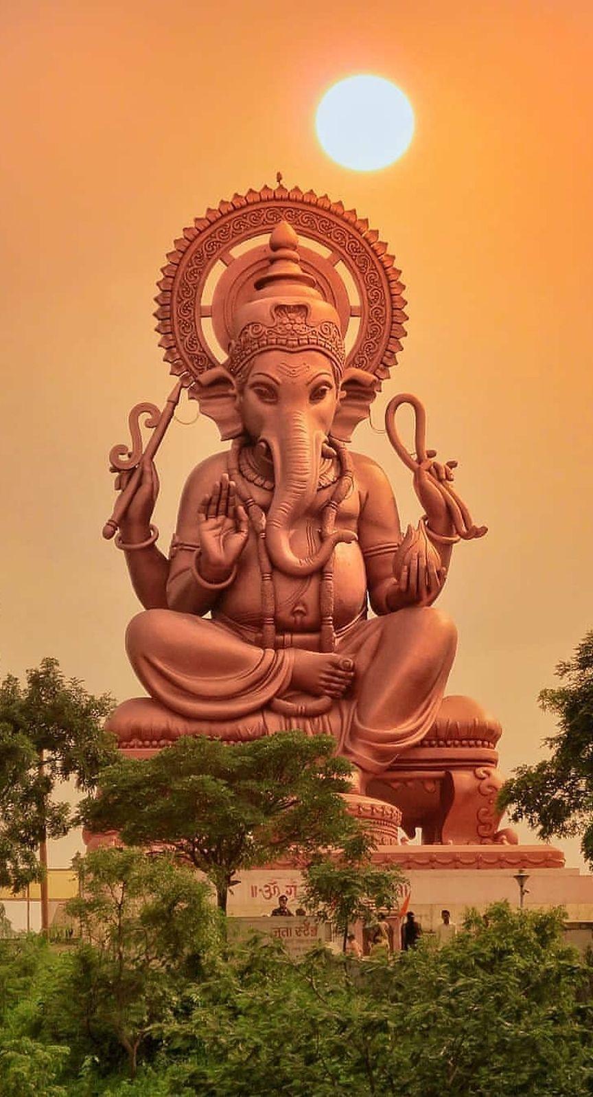 Lord Ganesha Statue Sunset Mobile Wallpaper Indian God Lord Ganesha Paintings Ganesha Pictures Ganpati Bappa Wallpapers