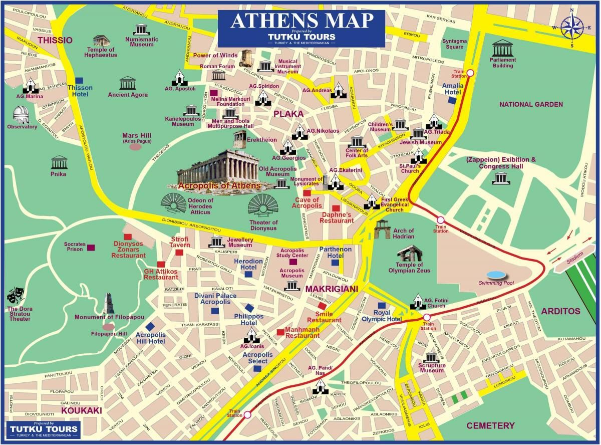 Athens Ruins Map Map Of Athens Ruins Greece Athens Map