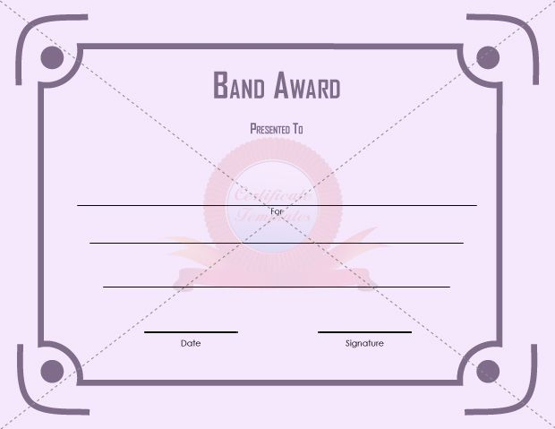 Band Award  School Certificate Template    Certificate