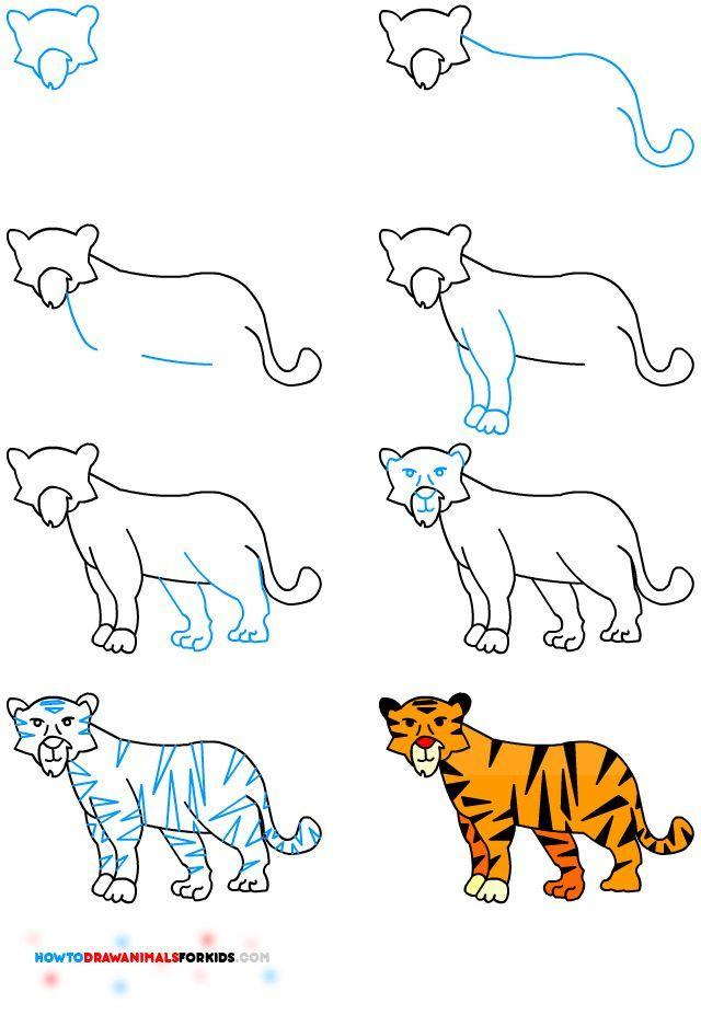 Comment dessiner un tigre 3317 gabriel pinterest - Apprendre a dessiner un tigre ...