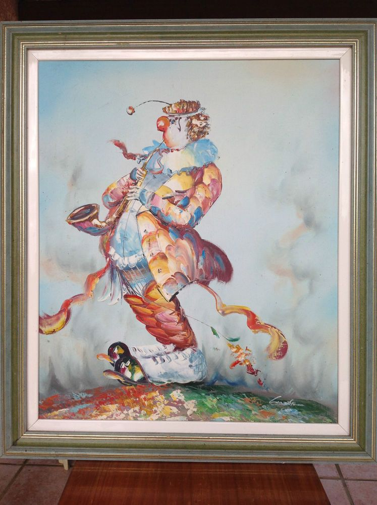 Beautiful large oil painting signed vintage era - CLOWN | Clown Art