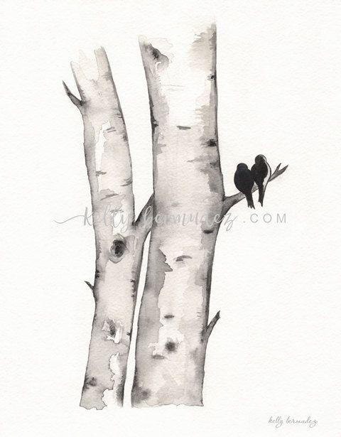 Birke Baum Liebe Nr 1 Liebe Vogel Romantik Aquarell Druckbare