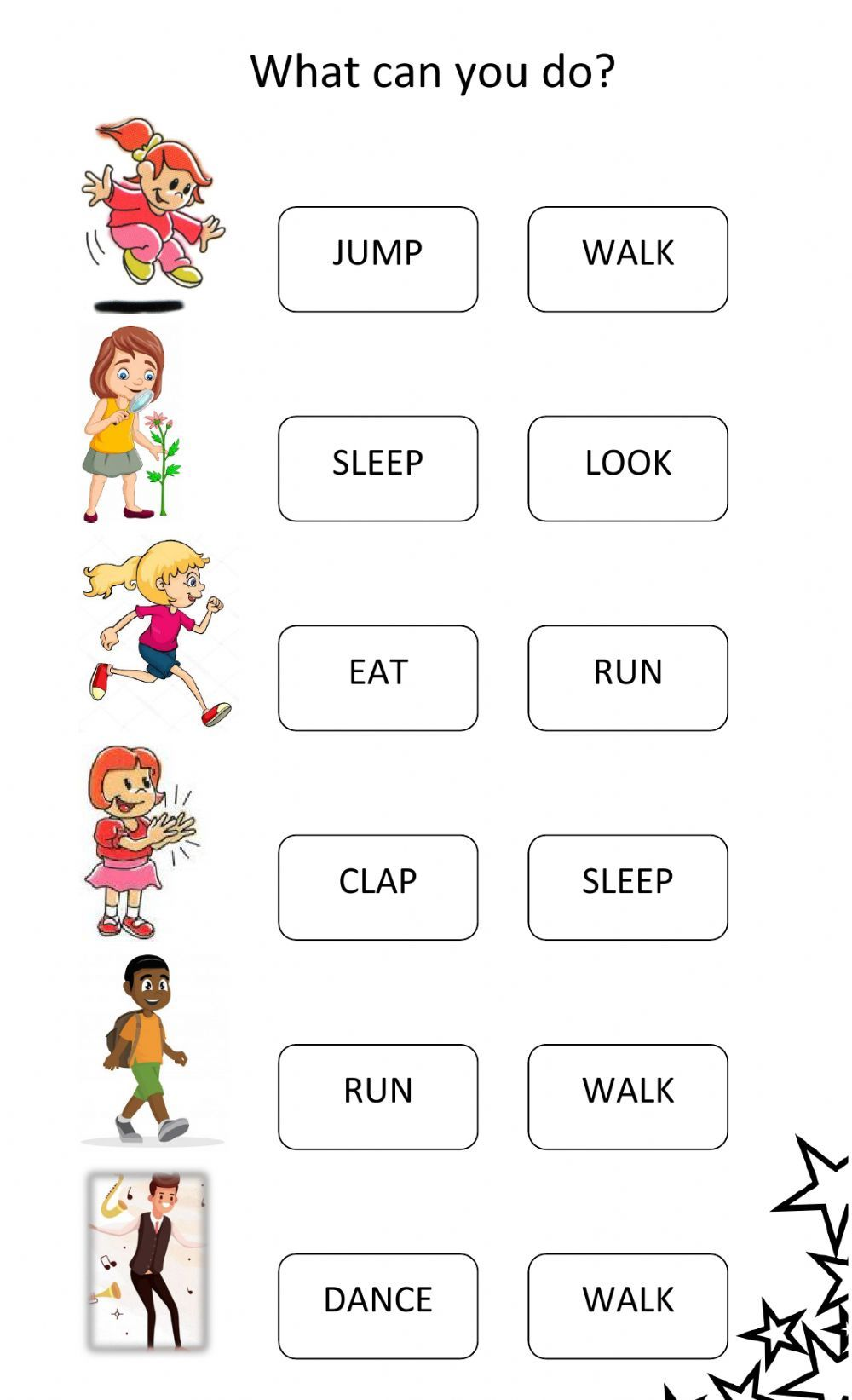 Action Verbs Online Activity For Inicial You Can Do The Exercises Online Or Down In 2021 English Lessons For Kids English Activities For Kids English Classes For Kids