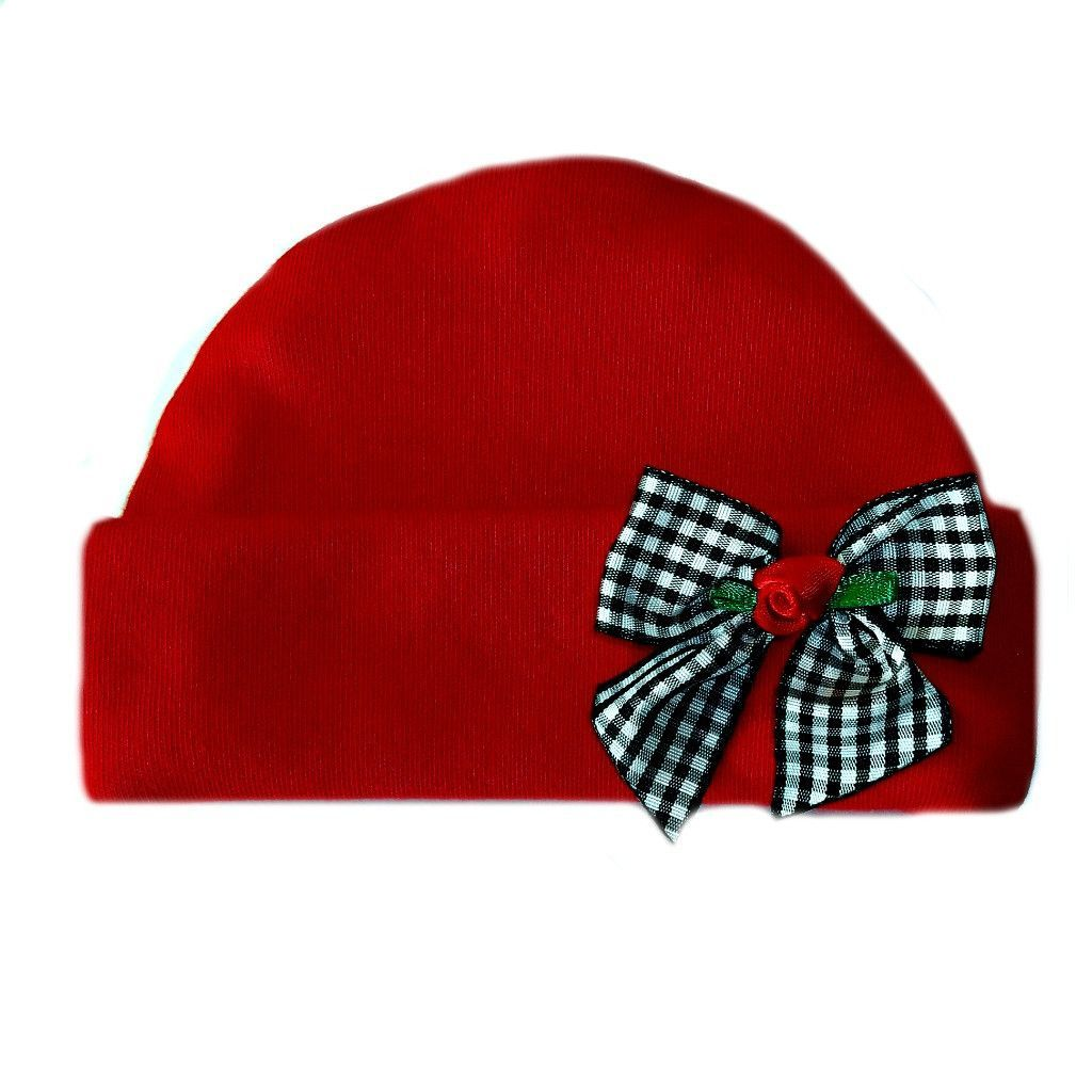 4eb1cebadc8 Baby Girls  Red Hat with Black Gingham Rose Bow. Lovely Newborn and Preemie  Baby Girl Hats! 5 Sizes for Premature Babies