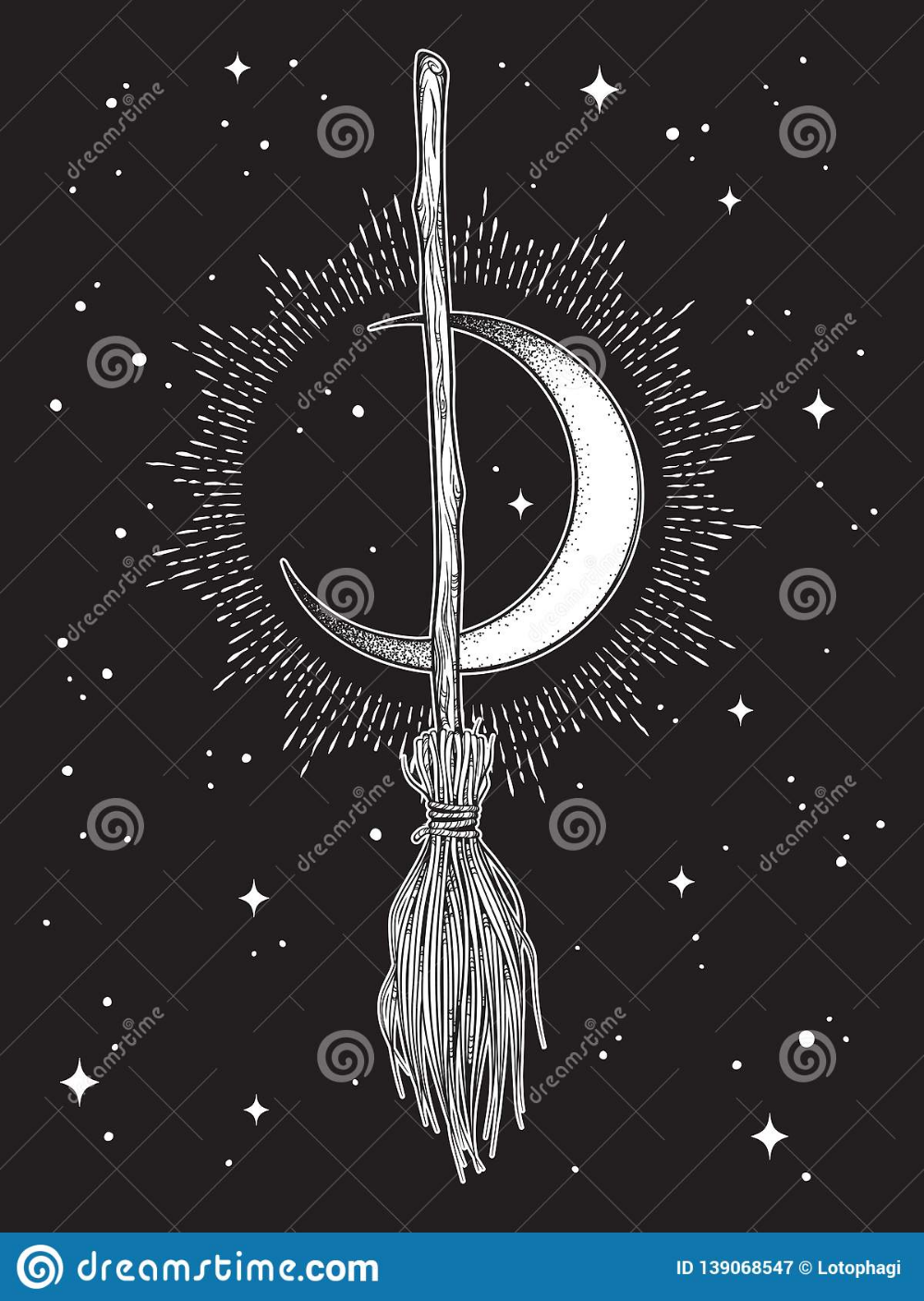 Broom Magic Vehicle Of The Witch Hand Drawn Ink Style Boho Chic Sticker, Patch, Flash Tattoo Or Print Design Vector Illustration Stock Vector - Illustration of etching, gothic: 139068547