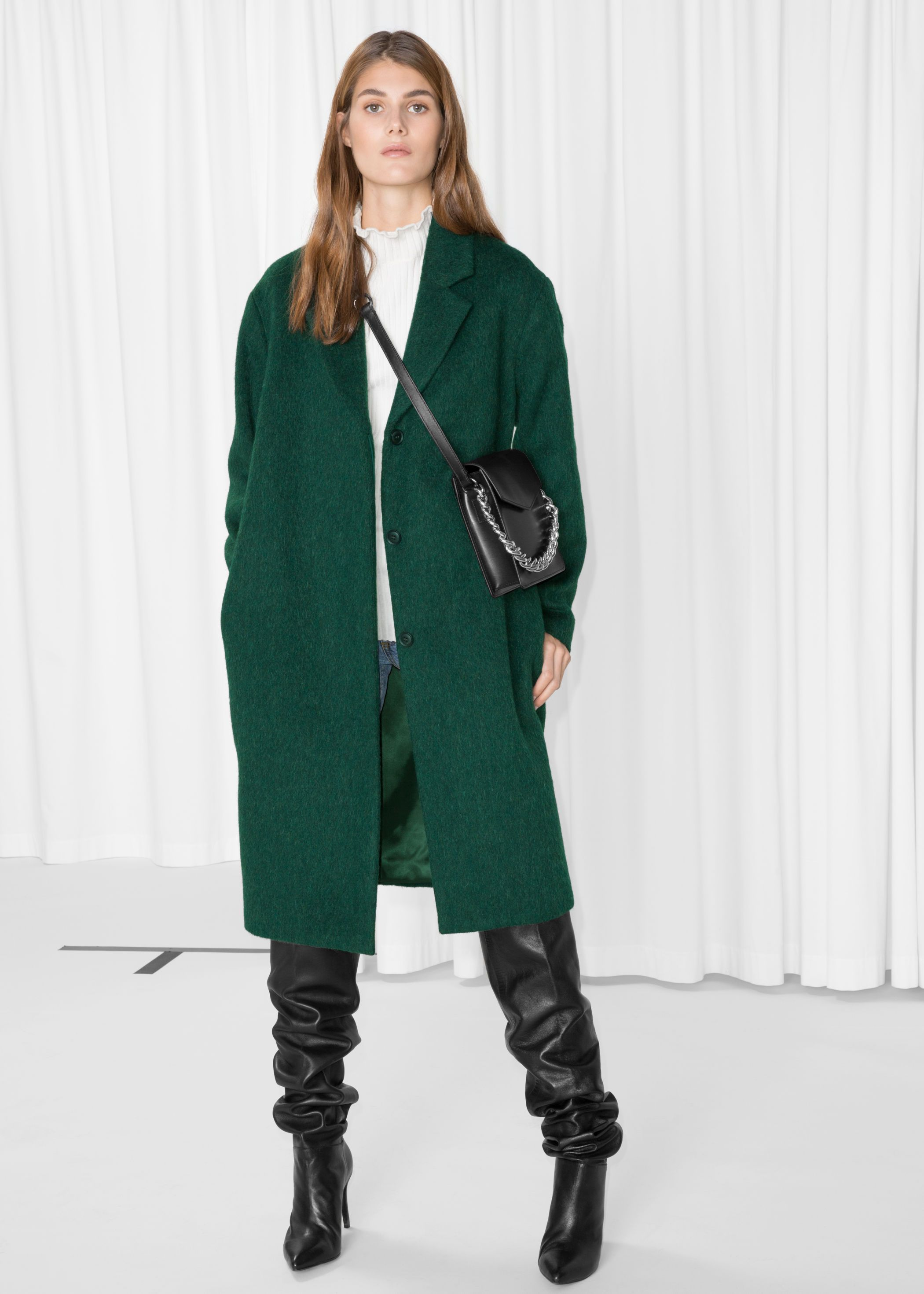 Green lady day coat and navy bows Extra Petite | Green