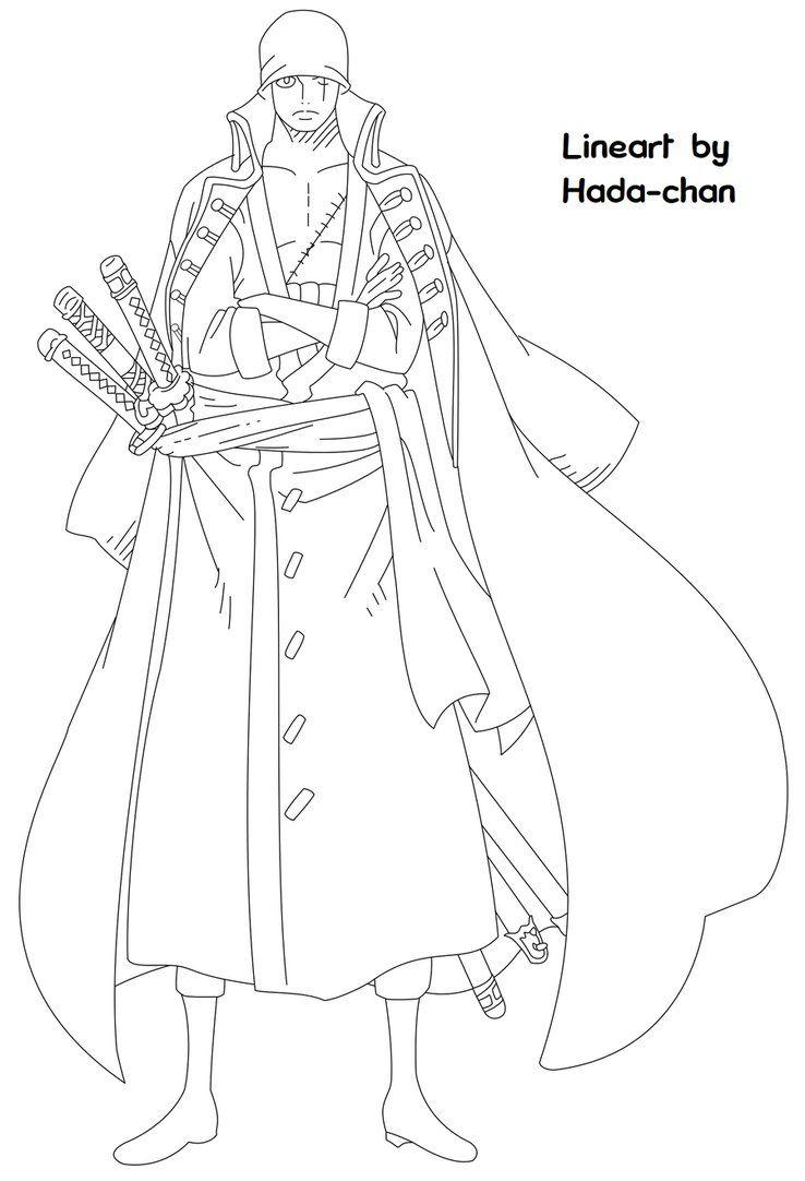 One Piece Film Z Zoro Lineart By Hada Chan One Piece Drawing One Piece Anime One Piece