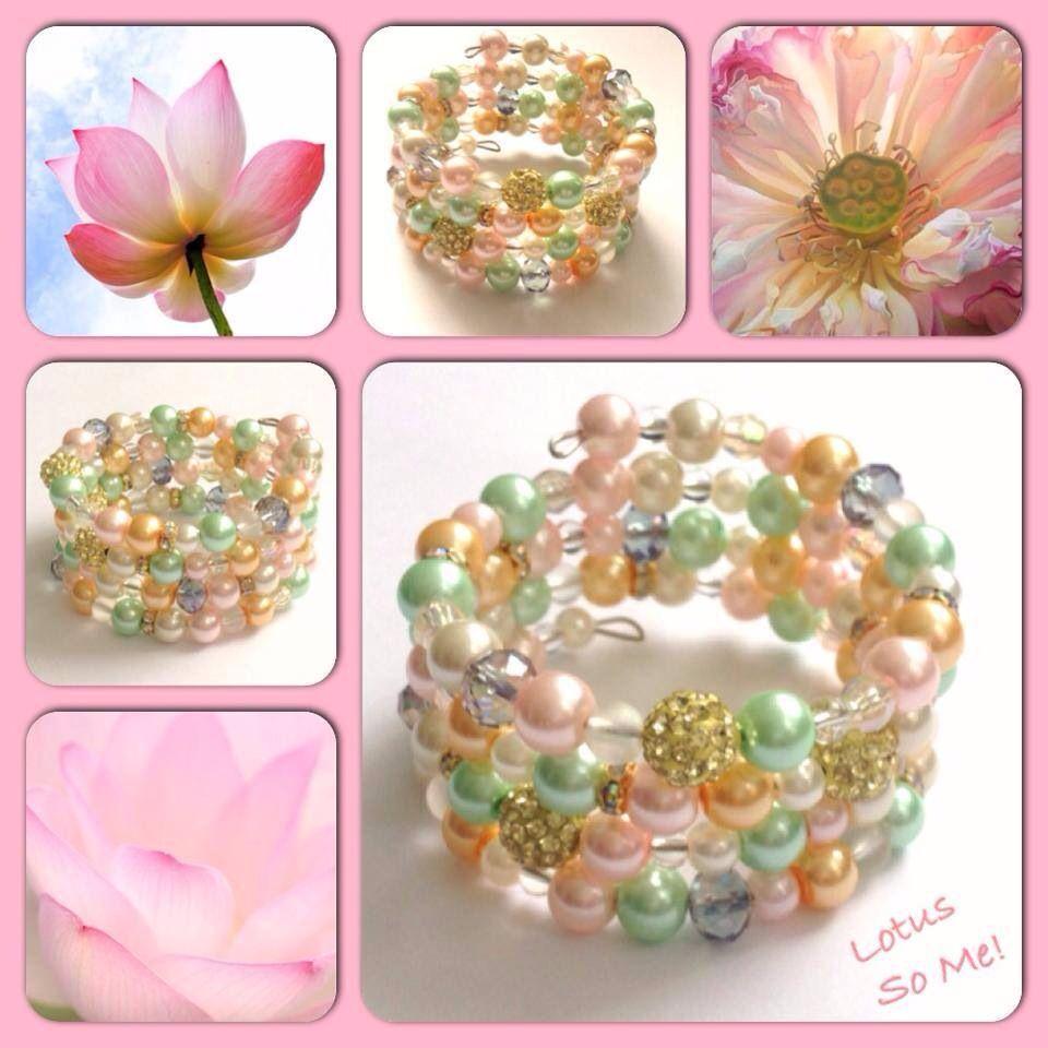 Lotus! Moderne, mooie zelfgemaakte armbanden, glas parels, glas kralen , Memory wire, http://some-accessoires.nl